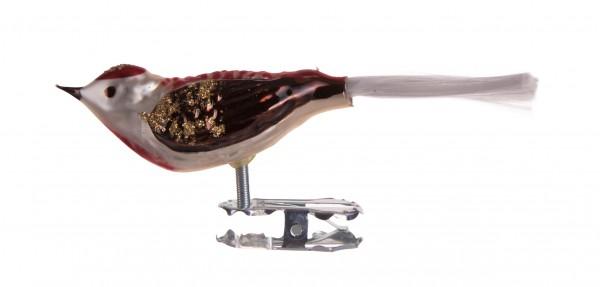 Vogel, weiß-rot-brau