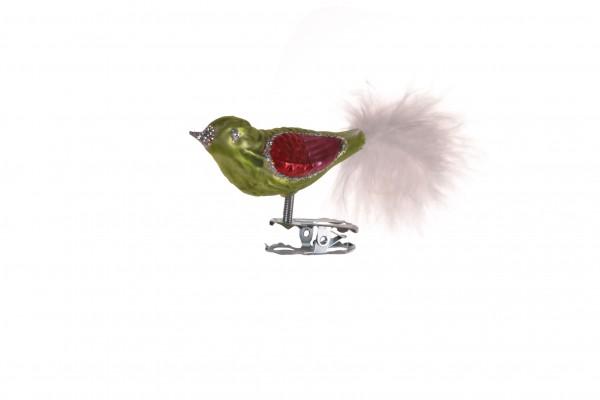 Vogel, kiwigrün, Feder
