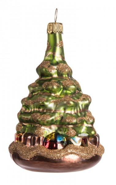 Tannenbaum, dunkelgrün, Gold Glitter